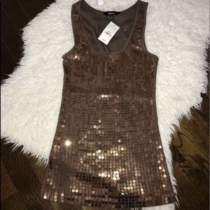 NWT Express ribbed brown sequin tank